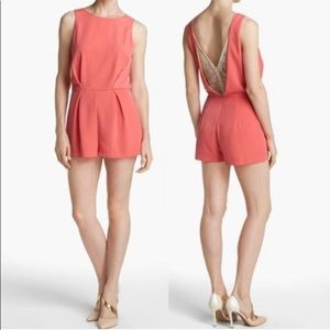 ASTR | Coral Lace Back Romper